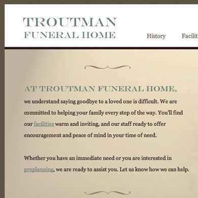 Troutman Funeral Home Website